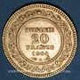 Monnaies Tunisie. Mohammed El Hadi, bey (1320-1324H = 1902-1906). 20 francs 1322H / 1904A. (PTL 900‰. 6,45 g)
