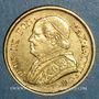 Monnaies Vatican. Pie IX (1846-1878). 10 lires 1867 an XXII R. Rome. (PTL 900‰. 3,22 g)