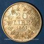 Monnaies Vatican. Pie IX (1846-1878). 20 lires 1867 an XXIIR, Rome. (PTL 900‰. 6,45 g)