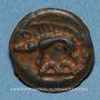 Monnaies Leuques. Région de Toul. 2e moitié du 1er siècle av. J-C. Potin, classe Ia avec sanglier à gauche