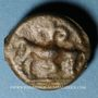 Monnaies Leuques. Région de Toul. Potin à la tête casquée, 2e - 1er siècle av. J-C
