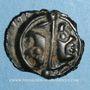 Monnaies Lingones. Région de Langres. Oyindia. Potin à la tête janiforme, 2e - 1er siècle av. J-C