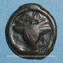 Monnaies Rémi. Région de Reims. Potin au bucrâne, 1er siècle av. J-C.