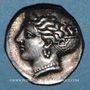 Monnaies Lucanie. Métaponte. Didrachme attribuée au graveur Aristoxenos. Vers 375-340 av. J-C
