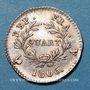 Monnaies 1er empire (1804-1814). 1/4 franc, date grégorienne, 1806 A