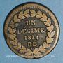Monnaies 1er empire (1804-1814). 1er blocus de Strasbourg 1814. 1 décime 1814 BB. Points après DECIME