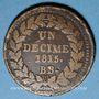 Monnaies 2e blocus de Strasbourg 1815. 1 décime 1815 BB points après DECIME et 1815