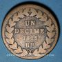 Monnaies 2e blocus de Strasbourg 1815. 1 décime 1815 BB. Sans points