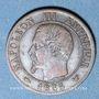 Monnaies 2e empire (1852-1870). 1 centime, tête nue, 1855W. Lille. Chien