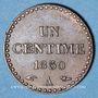 Monnaies 2e république (1848-1852). 1 centime 1850A