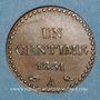 Monnaies 2e république (1848-1852). 1 centime 1851A