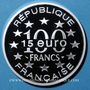 Monnaies 5e république (1959- ). 15 euro / 100 francs 1996, abeille, Magere Brug d'Amsterdam