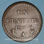 Monnaies Directoire (1795-1799). 1 centime an 6A. 53 perles à l'avers et 50 au revers