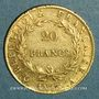Monnaies 1er empire (1804-1814). 20 franc tête nue an 13 A. (PTL 900‰. 6,45 g)