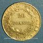Monnaies 1er empire (1804-1814). 20 franc tête nue an 13A. (PTL 900‰. 6,45 g)