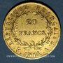 Monnaies 1er empire (1804-1814). 20 francs tête nue an 13A. (PTL 900‰. 6,45 g)