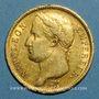 Monnaies 1er empire (1804-1814). 40 francs tête laurée EMPIRE 1811 A. (PTL 900‰. 12,90 g)