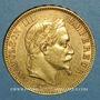 Monnaies 2e empire (1852-1870). 100 francs Napoléon III tête laurée 1869 A. (PTL 900‰. 32,25 g)
