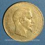 Monnaies 2e empire (1852-1870). 100 francs Napoléon III tête nue 1857A. (PTL 900‰. 32,25 g)