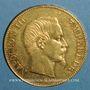 Monnaies 2e empire (1852-1870). 100 francs Napoléon III tête nue 1858 A. (PTL 900‰. 32,25 g)