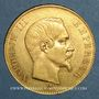 Monnaies 2e empire (1852-1870). 100 francs Napoléon III tête nue 1858BB. Strasbourg. (PTL 900‰. 32,25 g)