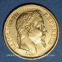 Monnaies 2e empire (1852-1870). 20 francs, Napoléon III, tête laurée 1862 BB. Strasbourg. 900 /1000. 6,45 gr