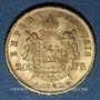 Monnaies 2e empire (1852-1870). 20 francs, Napoléon III, tête laurée 1862A. Petit A. 900 /1000. 6,45 gr