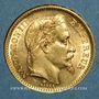 Monnaies 2e empire (1852-1870). 20 francs Napoléon III tête laurée 1865A. (PTL 900/1000. 6,45 g)