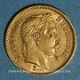 Monnaies 2e empire (1852-1870). 20 francs Napoléon III tête laurée 1866 BB. Strasbourg. (PTL 900‰. 6,45 g)