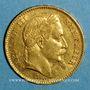 Monnaies 2e empire (1852-1870). 20 francs Napoléon III tête laurée 1867 BB. Strasbourg. (PTL 900‰. 6,45 g)