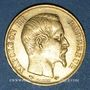 Monnaies 2e empire (1852-1870). 20 francs, Napoléon III, tête nue 1858A. 900 /1000. 6,45 gr