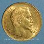 Monnaies 2e empire (1852-1870). 20 francs Napoléon III tête nue 1859 A. (PTL 900‰. 6,45 g)