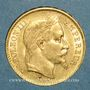 Monnaies 2e empire (1852-1870). 20 francs tête laurée 1869BB. Strasbourg. Grand BB (PTL 900 /1000. 6,45 g)