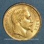 Monnaies 2e empire (1852-1870). 20 francs tête laurée 1869BB. Strasbourg. Grand BB. (PTL 900 /1000. 6,45 gr)