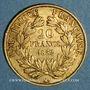 Monnaies 2e république (1848-1852). 20 francs Louis Bonaparte 1852A. (PTL 900‰. 6,45 g)