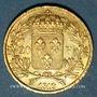 Monnaies 2e restauration. Louis XVIII (1815-1824). 20 francs buste nu 1819W. Lille. 900 /1000. 6,45 gr