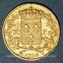 Monnaies 2e restauration. Louis XVIII (1815-1824). 20 francs buste nu 1824W. Lille. 900 /1000. 6,45 gr