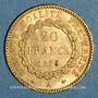 Monnaies 3e république (1870-1940). 20 francs Génie 1875A. (PTL 900 /1000. 6,45 gr)
