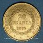 Monnaies 3e république (1870-1940). 20 francs Génie 1877A. 900 /1000. 6,45 gr