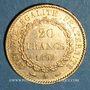 Monnaies 3e république (1870-1940). 20 francs Génie 1892A. 900 /1000.  6,45 gr