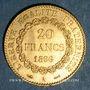 Monnaies 3e république (1870-1940). 20 francs Génie 1896A. Faisceau. 900 /1000. 6,45 gr