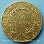 Monnaies Consulat (1799-1804). 40 francs an 12A. Variété rare avec grènetis étroit. (PTL 900‰. 12,90 g)