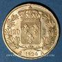Monnaies Louis XVIII (1815-1824). 20 francs buste nu 1824A. (PTL 900‰. 6,45 g)