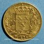 Monnaies Louis XVIII (1815-1824). 20 francs buste nu 1824W. Lille. (PTL 900‰. 6,45 g)