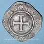 Monnaies Charles VI (1380-1422). Double tournois dit niquet frappé à Auxerre (point 2e avers et revers)