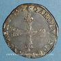 Monnaies Charles X, roi de la Ligue (1589-1590). 1/4 d'écu 1590 A et point 18e. Paris