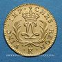 Monnaies Louis XV (1715-1774). Louis d'or Mirliton, grandes palmes, 1724 K. Bordeaux