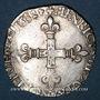 Monnaies Henri III (1574-1589). 1/4 d'écu 1582 H. La Rochelle. Variante inédite !