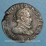 Monnaies Henri III (1575-1589). Teston au col plat 1575 B. Rouen