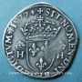 Monnaies Henri III (1575-1589). Teston au col plat 1577H. La Rochelle